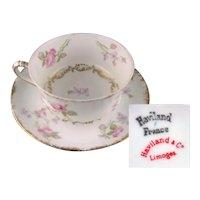 Vintage Limoges Haviland Floral Cup and Saucer Set