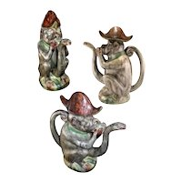 Majolica Monkey Teapot with Snake Spout