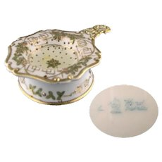 Nippon Handpainted Tea Strainer and Receptacle