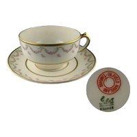 Vintage Haviland Limoges Pink Rose Garland Cup and Saucer Set