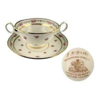 Vintage Cauldon K3616 Brown Westhead Bouillon Cup and Saucer Set