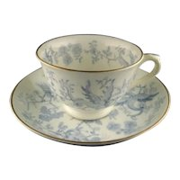 Antique G. F. Bowers Blue and White Dragon Cup and Saucer Set