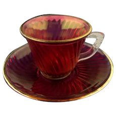 """Vintage Cranberry Stained """"Diana"""" Demitasse Set"""