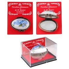 Vintage Floral Oval Egg-Shaped Porcelain Hinged Box West Germany