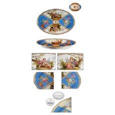 Vintage Porcelain Dresden Scenic Meissen Oval Platter