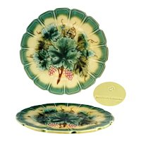 French Vintage Sarreguemines Majolica Plate - Green Vine Grapevine No. 5