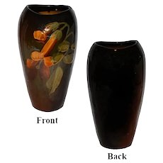 Antique Owens Utopian Art Pottery Vase with Yellow Flowers - Unmarked