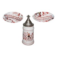 Vintage German Porcelain Beer Stein with Pewter Lid with Thumblift and Lithophane