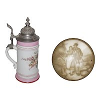 Vintage Porcelain Beer Stein with Lithophane and Engraved Pewter Lid