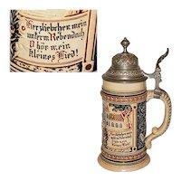 Vintage German Glazed Pottery Beer Stein