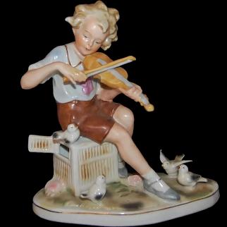 Vintage German Figurine Playing a Violin - Germany
