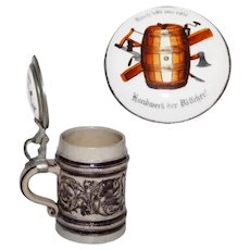 Vintage Gray Stoneware Beer Stein with Pewter Mounts and Inlaid Hand Painted Porcelain Lid