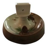 Vintage Hand Painted Porcelain Pinecone Matchbox Holder and Ashtray