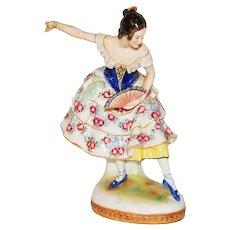 Vintage Dresden Aelteste Volkstedt Porcelain Spanish Dancer with Fan