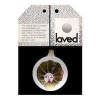 Vintage Hand Painted Laved Limited Edition Frosted Ball with Gold Face Holiday Ornament - Italy