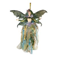 Vintage Large Green Glittered Winged Fairy Christmas Holiday Ornament