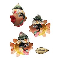 Vintage Katherine's Collection Glitter Carmen Miranda Fish Holiday Ornament