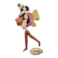 Vintage Katherine's Collection Pink Glitter Carmen Miranda Kissing Fish with Dangling Legs Holiday Ornament