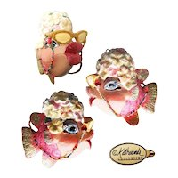 Vintage Katherine's Collection Pink and Green Glitter Kissing Fish with Carmen Miranda Headdress and Beaded Eyeglass Chain Holiday Ornament