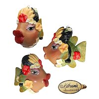 Vintage Katherine's Collection Kissing Fish Green and Gold Glitter Carmen Miranda Holiday Ornament