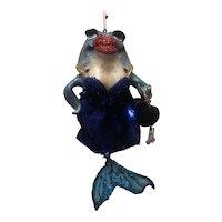 Vintage Katherine's Collection Glitter Kissing Blue Fish Holding Handbag Holiday Ornament