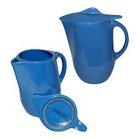 Vintage Universal Potteries Oxford Ware Blue Covered Jug with Lid