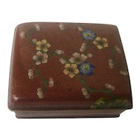 Vintage Red Footed Cloisonne Box with Floral Motif