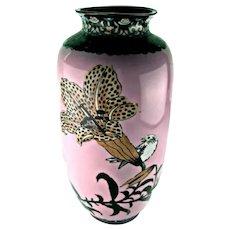 Antique Japanese Cloisonne Vase with Pink Background - Meiji Period