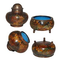 Vintage Cloisonne Salt and Pepper Set