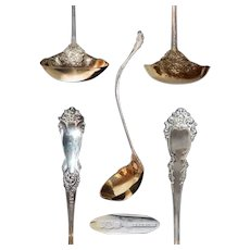 Sterling La Marquise Reed & Barton Soup Ladle with Gold Washed Bowl