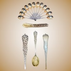 Sterling Rococo Dominick & Haff Chocolate Spoon Set