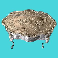Vintage 800 Silver Repousse Footed and Hinged Box