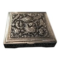 Persian Solid Silver Hinged Box with Raised Repousse Lid Decorated with Hand Chased Ornamental Engravings of Birds of Paradise