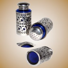 Sterling Silver & Cobalt Glass Salt & Pepper Set