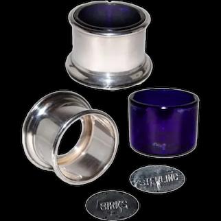 Birks Open Salts with Cobalt Liner