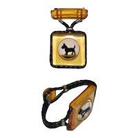 2 Piece Apple Juice Bakelite Scottie Dog Bracelet and Pin Set