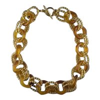 Kenneth Lane Amber Lucite Rings and Double Goldtone Rope Linked Necklace