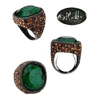 Vintage Kenneth Jay Lane Gunmetal Huge Faceted Emerald Green Crystal Cocktail Ring