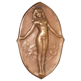 Vintage Art Nouveau Nude Relief Figure Hat Pin - Set of Two (2)
