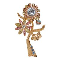 Vintage Christian LaCroix Flower Brooch with Movable Parts