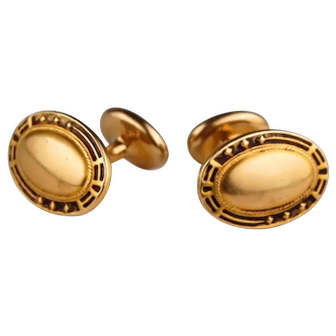 Vintage 14K Gold Cufflinks with Geometric Designed Edges
