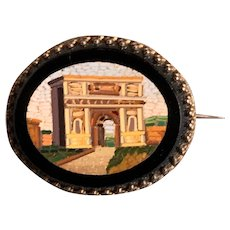 Victorian Micro Mosaic Brooch an silver Italy