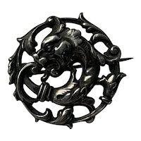 Antique silver 800-900  Griffin Dragon chimera Art Nouveau brooch