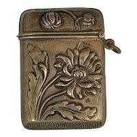 Antique continental art nouveau silver match Safe Box Vesta Daisy  for a chatelaine