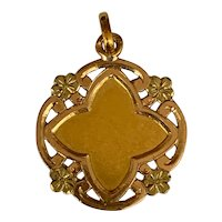 Antique Art Nouveau 18K gold French medal charm with flowers