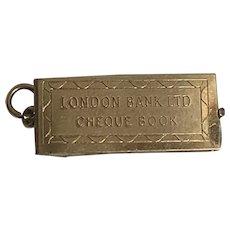 Vintage Cheque book Pendant Charm London Bank LTD 9 k gold
