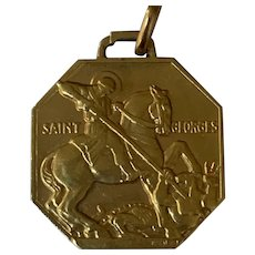 French Art Deco Medal pendant Saint George  Dragon 18 K gold