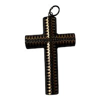 Antique Victorian Pique inlaid Gold and Silver Cross Pendant 1860