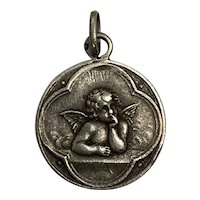 Antique french  Cherub Angel Medal Pendant Charm silver art nouveau