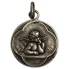 Antique french  Cherub Angel Medal Pendant Charm silver art nouveau